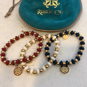 Rustic Cuff bracelet trio- Red, White, & Blue